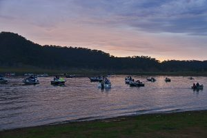 Boats awaiting the takeoff at sunrise